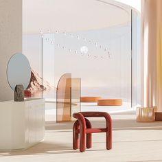 The artwork and store of Alexis Christodoulou rendered artworks. Cafe Interior, Interior Design, Partition Design, Screen Design, Architecture Office, Planer, Home Furnishings, Modern Design, Furniture Design