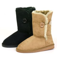 Womens Comfort Boots Button Flats Slouch Australian Faux Sheepskin Shearling Fur #alpineswiss #Comfort