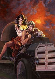 """Barnett Plotkin    A couple who fights together, stays together. This painting was on the cover of the paperback """"Slaughter In Sinaloa"""" by Ramsay Thome."""