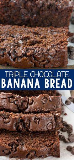 Triple Chocolate Banana Bread - this EASY banana bread is the BEST RECIPE! It's my mom's banana bread recipe with TRIPLE the chocolate!