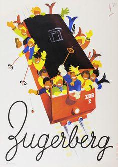 Poster for Zugerberg, Switzerland by Martin Peikert, 1948.