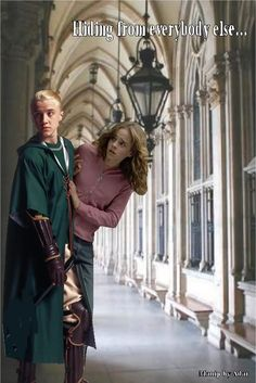 Dramione sneaking around. Kind of funny since it's second year Malfoy and third year Hermione