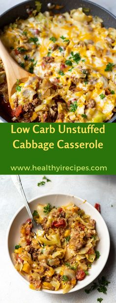 This Low Carb Unstuffed Cabbage Casserole Recipe is a great family dinner idea. Full of healthy vegetables and lean protein. No Carb Recipes, Beef Recipes, Cooking Recipes, Healthy Recipes, Recipies, Cabbage Casserole, Casserole Dishes, Casserole Recipes, Taco Casserole