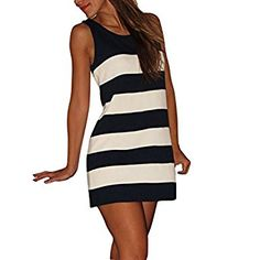 ROPALIA Women Sleeveless Striped Dress Summer Long Top Dresses: Amazon.co.uk: Clothing