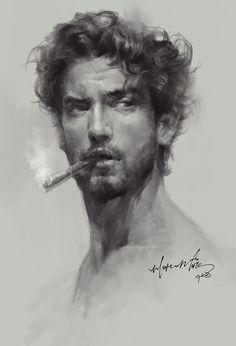Dijital Sanat: Etkileyici Dijital Portre Ve Tablolar – … - Hard Tutorial and Ideas Portrait Au Crayon, L'art Du Portrait, Portrait Sketches, Pencil Portrait, Drawing Portraits, Charcoal Portraits, Charcoal Art, Charcoal Drawings, Drawing Faces