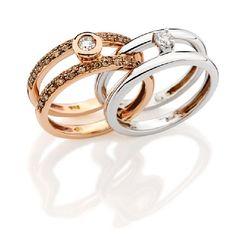 Anéis Julio Okubo em ouro branco e ouro rosê com diamantes brancos e diamantes brown da coleção Expressão. #divino #juliookubo #diamante #ouro #festa #feminino #casamento #noiva #joia #maravilhoso