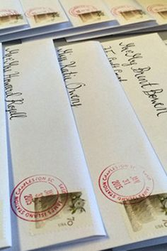 Hand-cancelling is when the postage is marked individually, by hand, which ensures that your outer envelope will stay in perfect condition. It's well worth the extra cost and effort!