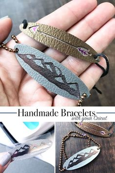 DIY Bracelets Using Leather and Your Cricut - 100 DirectionsHow to make bracelets with leather and your Cricut - design by Jen Goode cricutmade diyjewelry summer craftsMake your own leather earrings - Melissa Voigt - Leather Earrings, Leather Jewelry, Leather Bracelets, Metal Jewelry, Jewelry Tray, Gothic Jewelry, Jewelry Findings, Silver Jewelry, Handmade Bracelets