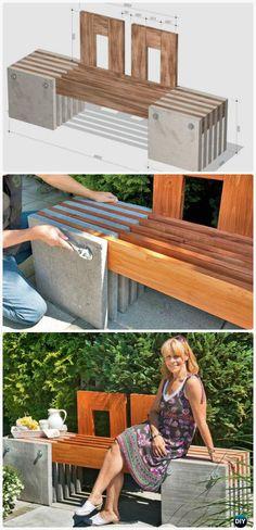 DIY Concrete Wood Garden Bench Instructions - Outdoor Garden Bench Ideas #Furniture