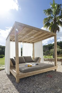 With the eyes of the nation glued to this year's Love Island escapades, it seems a good moment to share our favourite Mallorca hideaways Outdoor Cabana, Outdoor Daybed, Diy Outdoor Furniture, Outdoor Lounge, Pallet Furniture, Outdoor Spaces, Outdoor Living, Backyard Cabana, Pool Cabana