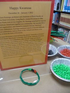 "Kwanzaa Gift Bracelet  This is part of our ""Winter Holidays Around the World"" craft table."