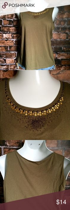 NEW ListingTalbots olive embellished tank Talbots olive embellished tank with bead, sequin, and stud details along neckline. Size is M. 60% cotton/40% modal. Not interested in trades. Talbots Tops Tank Tops