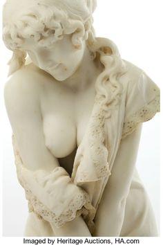 Marble:European, A CESARE LAPINI (ITALIAN, B. 1848) MARBLE STATUE: SORPRESA .Florence, Italy, circa 1893. Marks: C. LAPINI, FIRENZ...