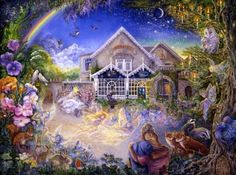 Enchanted Manor, Josephine Wall    All is not always as it seems at this secret hideaway…!! Once you enter this magical place you will be under it's spell. 'Enchantment' abounds everywhere you look. Hiding in every nook & cranny you can find creatures of the day and night - nature & fairy folk in perfect harmony. Badgers & foxes, robins & red squirrels live happily together. Romance is in the air - truly a place where lovers can find peace, tranquillity, and true happiness.