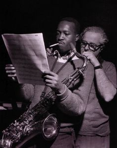 Hank Mobley with Alfred Lion during Mobley's Soul Station session, Englewood Cliffs NJ, February 71960 (photo by Francis Wolff)