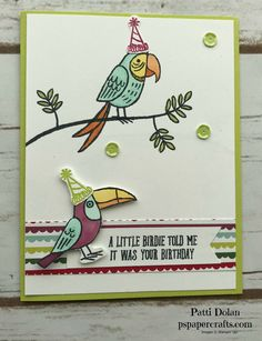 DIY Belated Birthday card featuring the Bird Banter Stamp Set from Stampin Up. This is a fun and festive birthday card.