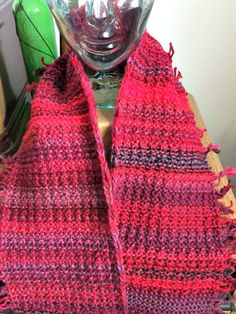 Red Fringe Infinity Circle Scarf by KnitGoodWomanKnit on Etsy