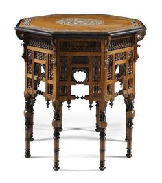 An Ottoman tortoiseshell and mother-of-pearl inlaid table, Turkey, Century Ottoman Furniture, Furniture Styles, Table Furniture, Antique Furniture, Furniture Design, Ottoman Table, Lamp Table, Moroccan Side Table, Goldscheider
