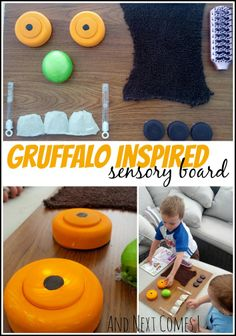"""An inexpensive sensory board for kids inspired by the book """"The Gruffalo. Gruffalo Activities, Sensory Activities, Sensory Play, Infant Activities, Activities For Kids, Sensory Bins, Preschool Lesson Plans, Preschool Books, Toddler Play"""