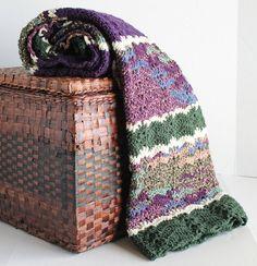 Afghan  Handmade Ripple Blanket  Green Purple by SnugableTouches, $75.00