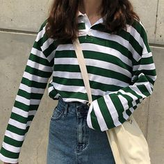 Loose Casual Vintage Striped Turn Down Collar - * Brand New* Size Unit: cm* Package include: Suit for :women, girls* The size may h - Rain Day Outfits, Plad Outfits, Indie Outfits, Retro Outfits, Cute Casual Outfits, Fashion Outfits, Vintage Hipster Outfits, Collared Shirt Outfits, Unisex Outfits
