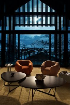 A Gorgeous Chalet in the Swiss Alps Perfectly Blends Modern and Rustic Design - Photo 15 of 15 - The night view
