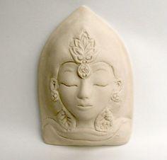 Quan Yin Matte White Tara Ceramic Goddess Face Kwan by Jillatay