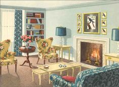After the Second World War, the color palette used in homes brightened as it seemed that homeowners looked to cast off the drabness of the war years and wanted to saturate their home with color. The color scheme focuses on several shades of aquamarine for ceiling and walls and trim. Colorful home accessories include printed draperies and upholstery fabrics.
