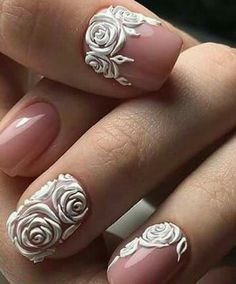 We all want beautiful but trendy nails, right? Here's a look at some beautiful nude nail art. Rose Nail Design, Rose Nail Art, Rose Nails, 3d Nail Art, 3d Nails, Flower Nails, Rose Art, Simple Nail Art Designs, Nail Designs