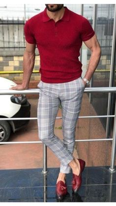 Karohosen Outfit, Pants Outfit, Polo Outfit, Men's Pants, Outfit Ideas, Mens Plaid Pants, Polo Shirt Outfits, Polo Shirt Style, Red Shirt
