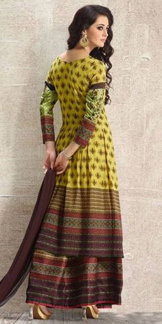 Beauty Green And Multi-Color Anarkali Suit.