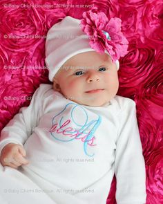 I could probably make this.....Baby Girl Custom Monogrammed Onesie or Gown by BabyChichiBoutique, $37.50