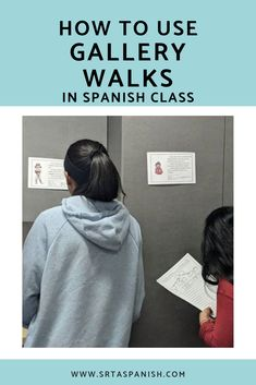 Gallery walks are an engaging movement activity where students analyze images or readings centered a Movement Activities, Spanish Activities, Class Activities, Classroom Activities, Spanish Games, Daycare Curriculum, Listening Activities, Spanish Vocabulary, Spanish Language Learning