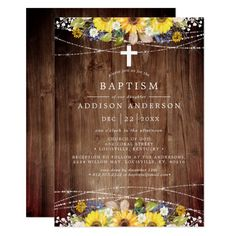 Sunflower Rustic Country Old Wood Cross Baptism Invitation #baptism #sunflower #rustic #country #baptism #Invitation