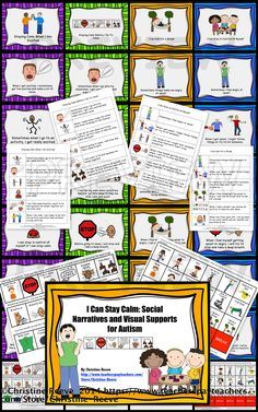 This product contains 4 social narratives in 2 different formats as well as visual cues to support them. It includes the 4 social narratives regarding using a calm down routine to be ready for class, to calm down when excited, before being aggressive and asking for a break.  Also included are visual supports for choices, cueing and requesting a break and a one-page version of each story for older students.