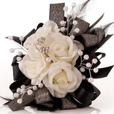 (but with some red somewhere...) Classic Cream Rose Prom Corsage with Black Accents