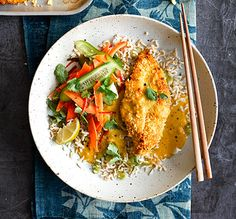 This healthier katsu is coated in finely chopped flaked almonds and baked in the oven (rather than fried) until crisp and golden.