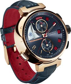 Man's accessories - Louis Vuitton Tambour Regatta Spint Time red & dark blue watch