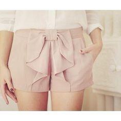 pink bow shorts.