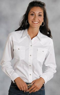 Roper Women's Long Sleeve Solid Western Snap Shirt (White)