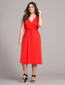 Sallie Sahne Kleid mit Baumwolle in Wickeloptik in Rot