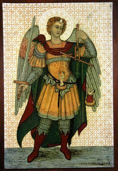 Pio Fabri, Pannello con la raffigurazione dell'Arcangelo Michele (da GEntile da Fabriano) 1883-1885, terraglla, cm 39 x 58,5. Collezione Ricci Saracemi.