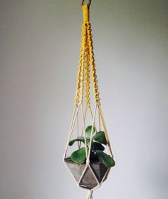 hanger de corda degradê com vaso de cimento - decoração sem marca