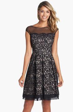 gorgeous illusion yoke lace fit & flare dress
