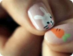 Cannot handle how cute this Easter mani is!!  bunnies & carrots on nails