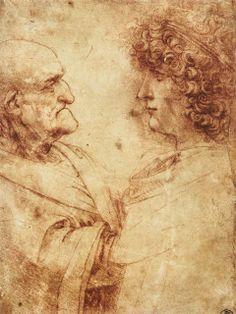 DaVinci, Heads of old man & youth (study) 1495-00