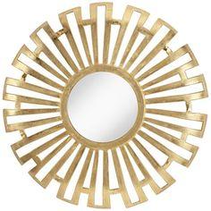 "Pendalosa Bright Gold 35"" Round Sunburst Wall Mirror"