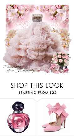 """I wear pink for..."" by dezaval ❤ liked on Polyvore featuring Christian Dior, Russell Trusso and IWearPinkFor"