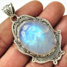 BFMP924 BLUE FIRE RAINBOW MOONSTONE 925 STERLING SILVER PENDANT JEWELRY