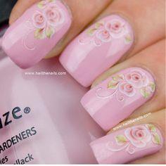 Nail Art Water Transfer Decal English Baby Pink by Hailthenails